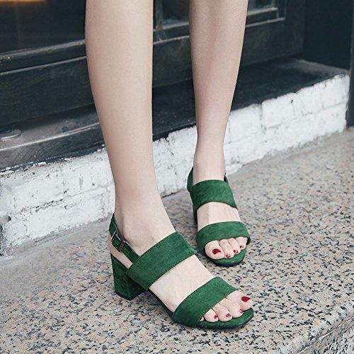 Block en verde color de tacón Sandalias Charm talón alto de con de sólido tirantes Carolbar el nRUqqY41w
