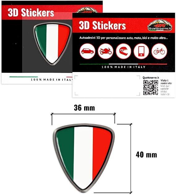 4r Quattroerre It 32112 3d Aufkleber Italien Flagge Schild Sticker Hq 40 X 36 Mm Auto