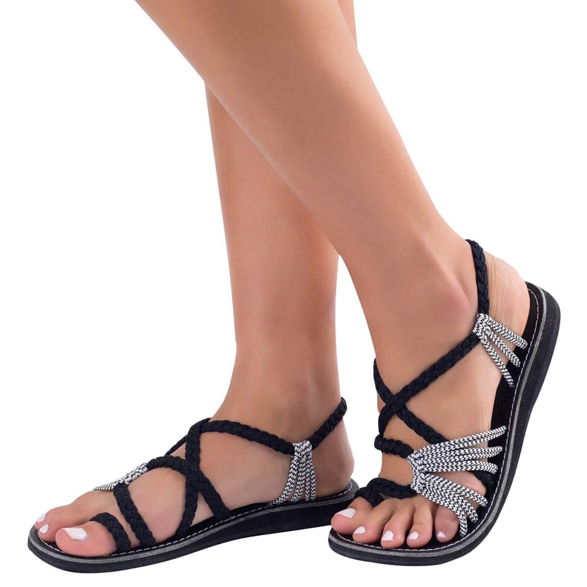 Sandales Noir Femme Tressée Sandales Femmes Chaussures B07H7NYVL1 de Blanc Plage Plats Bohême Clip Toe Herringbone Flip Flops Noir Blanc 27525ed - reprogrammed.space