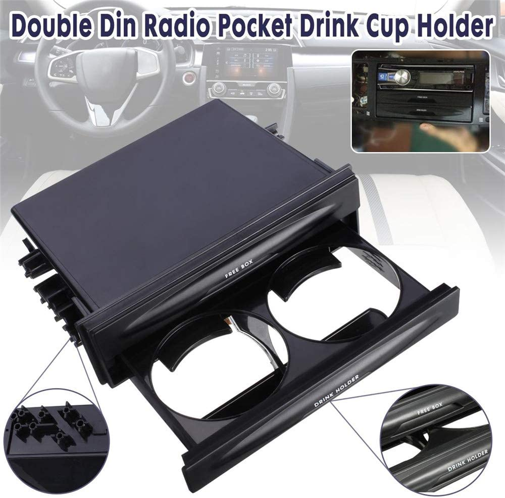 Universal 2 In 1 Car Storage Box With Cup Holder High Quality Plastic Double Din Radio Pocket Vehicle Accessories Black Auto