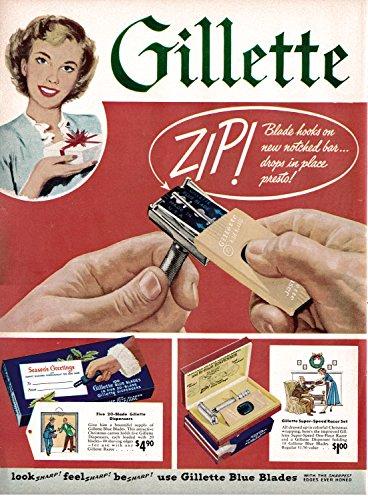 1949 Gillette Blue Blades 100 Blades For $4.90 Original 13.5 * 10.5 Magazine Ad
