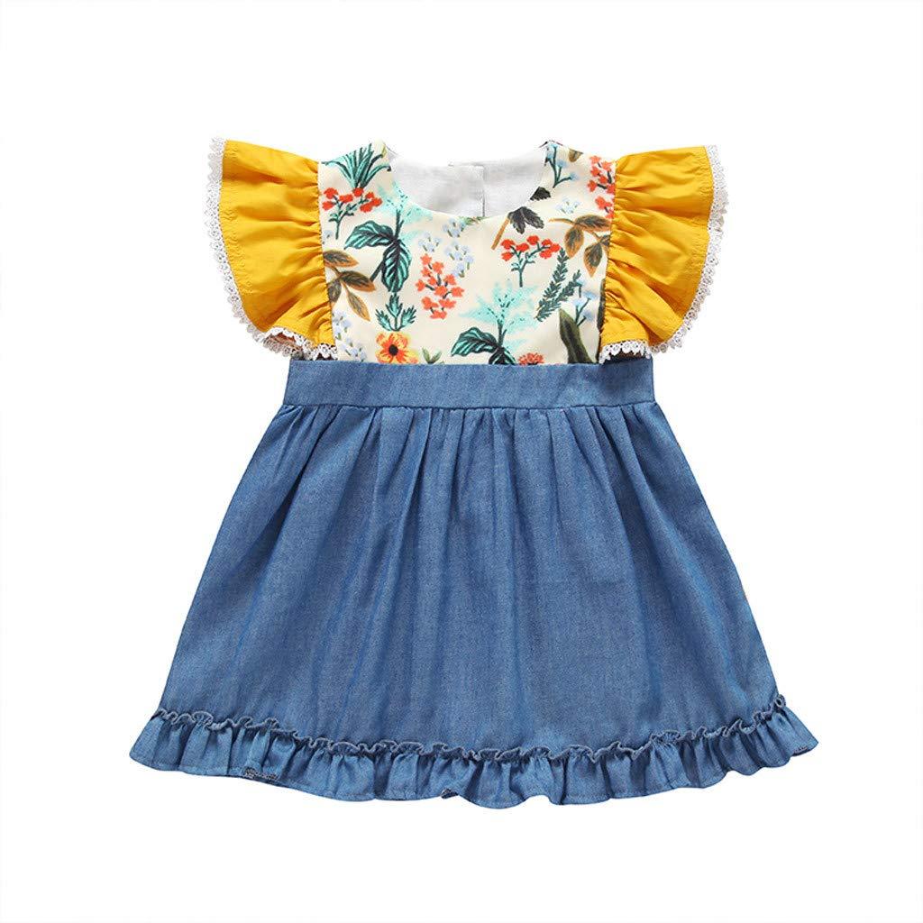 Denim Skirt for Girls,Infant Baby Girl Kids Loose Strap Sleeveless Solid Colors Beach Dress Clothing,Women's Costumes,Navy,5-8T
