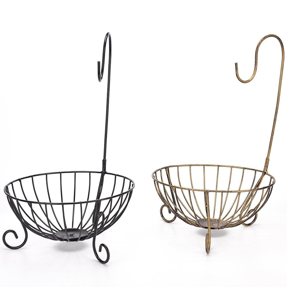 Black SQingYu 4 Color Novelty Kitchen Metal Fruit Basket with Detachable Banana Hanger Holder Hook