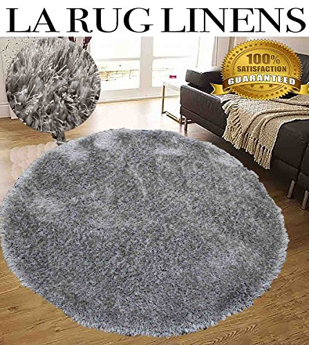 Home Shimmer Silver Light Gray 7x7 Round Shaggy Shag Area Rug Solid Color Flokati High Pile Soft Iridescent Sheen Ultra Plush Bedroom Living Room ( Romance Silver Design )