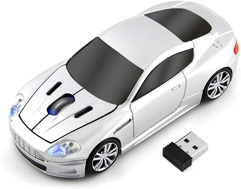 fhong 2.4GHz Wireless Sports Car Mouse New ABS Materials1600DPI 3 Button Optical Game Mouse with USB Interface for Mac/Desktop/Laptop (Silver)