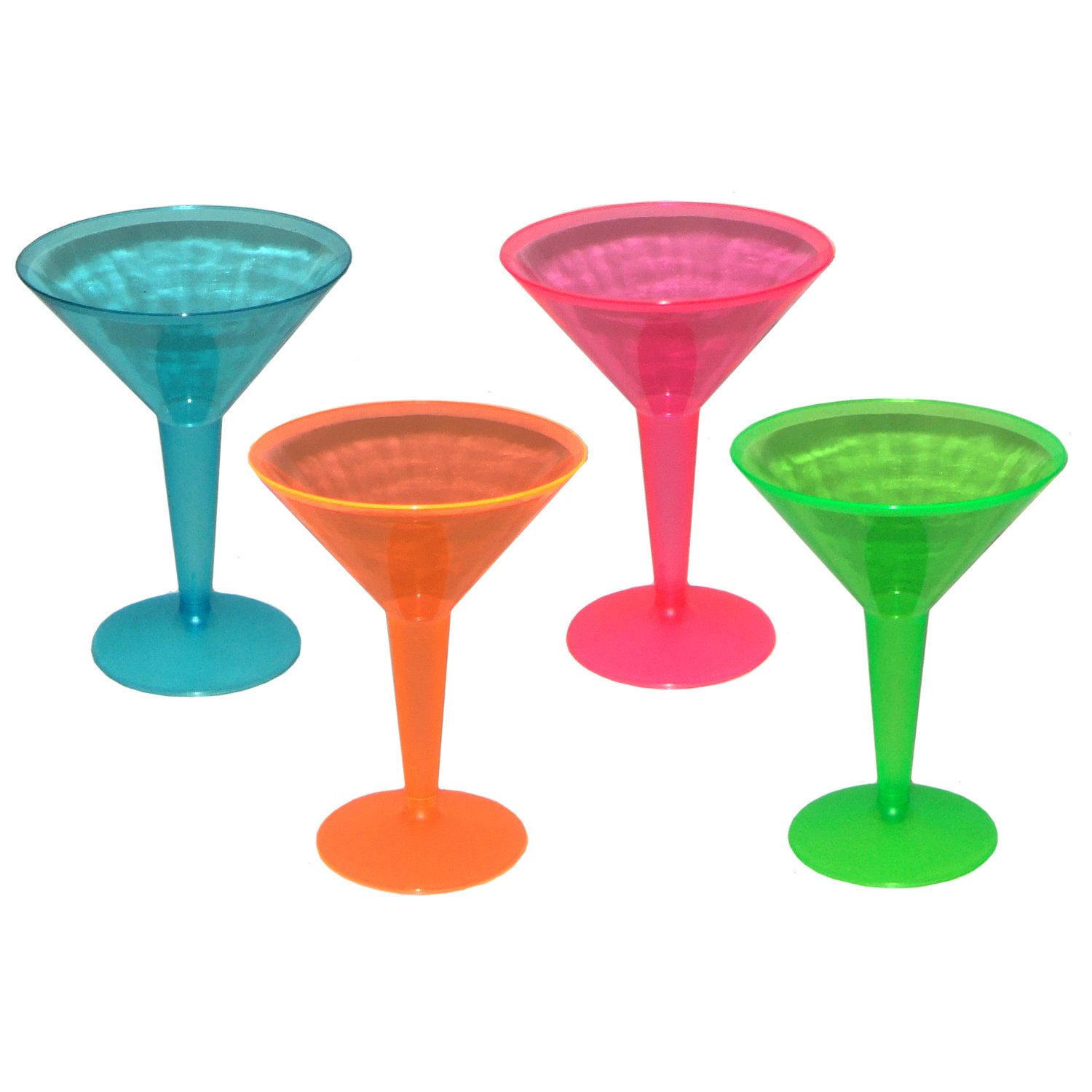 Party Essentials Brights Plastic 2-Piece Martini Glass, 8-Ounce Capacity, Assorted Neon Pink/Green/Blue/Orange, For Martinis, Appetizers, Mash Potatoes, Veggies Dip Stations, Bar & More  (Case of 144)