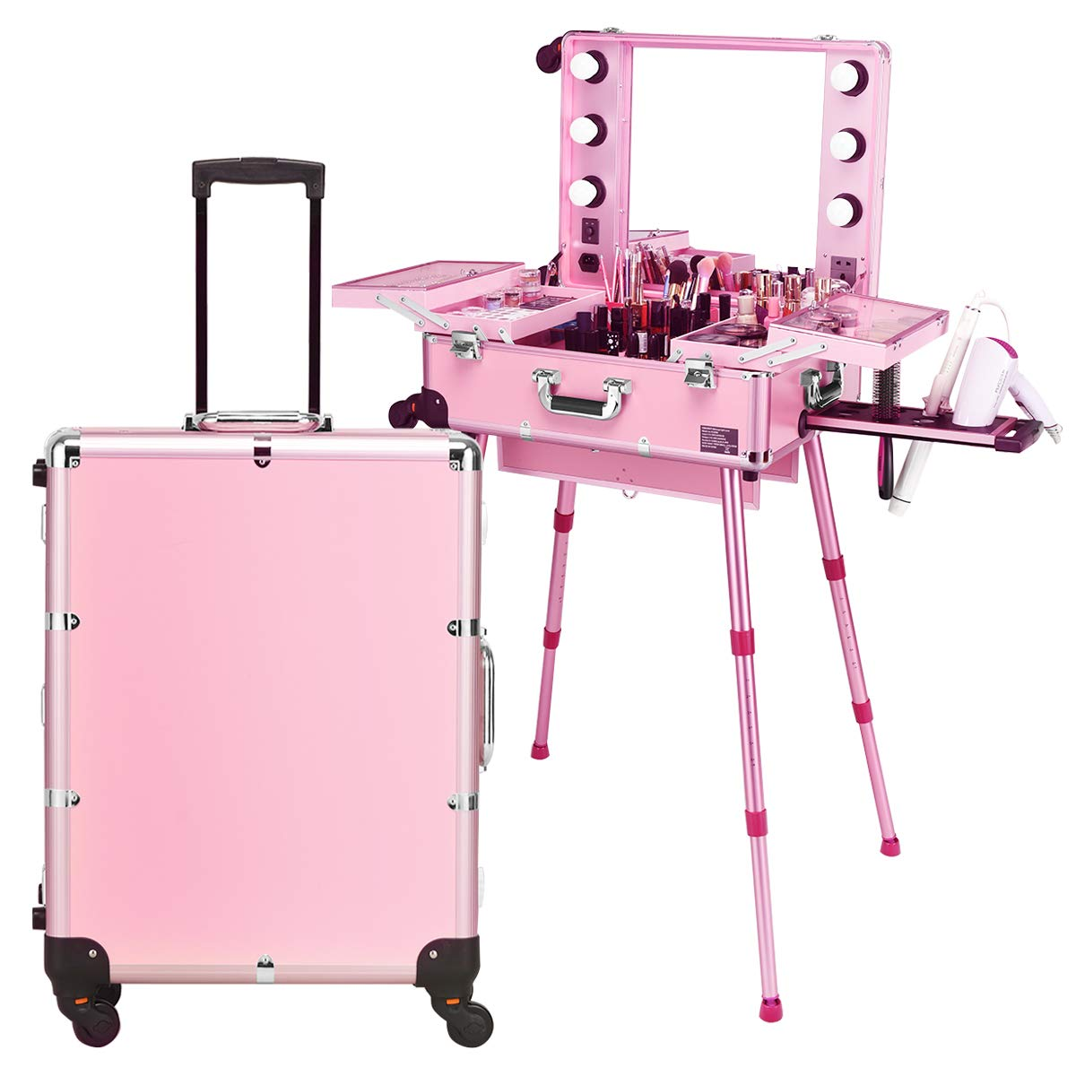 Giantex Rolling Cosmetics Case with Mirror, Cosmetic Case with Telescoping Legs, Six LED Lights, Makeup Train Case for Dressing Room Wedding Makeup Room, Makeup Case with Several Dividers (Pink) by Giantex