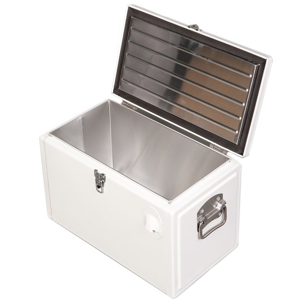 hio 20 qt retro style steel cooler box with bottle opener white ebay. Black Bedroom Furniture Sets. Home Design Ideas