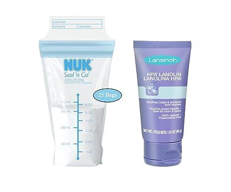 NUK Seal N Go leche materna bolsas con lanolina HPA para las ...