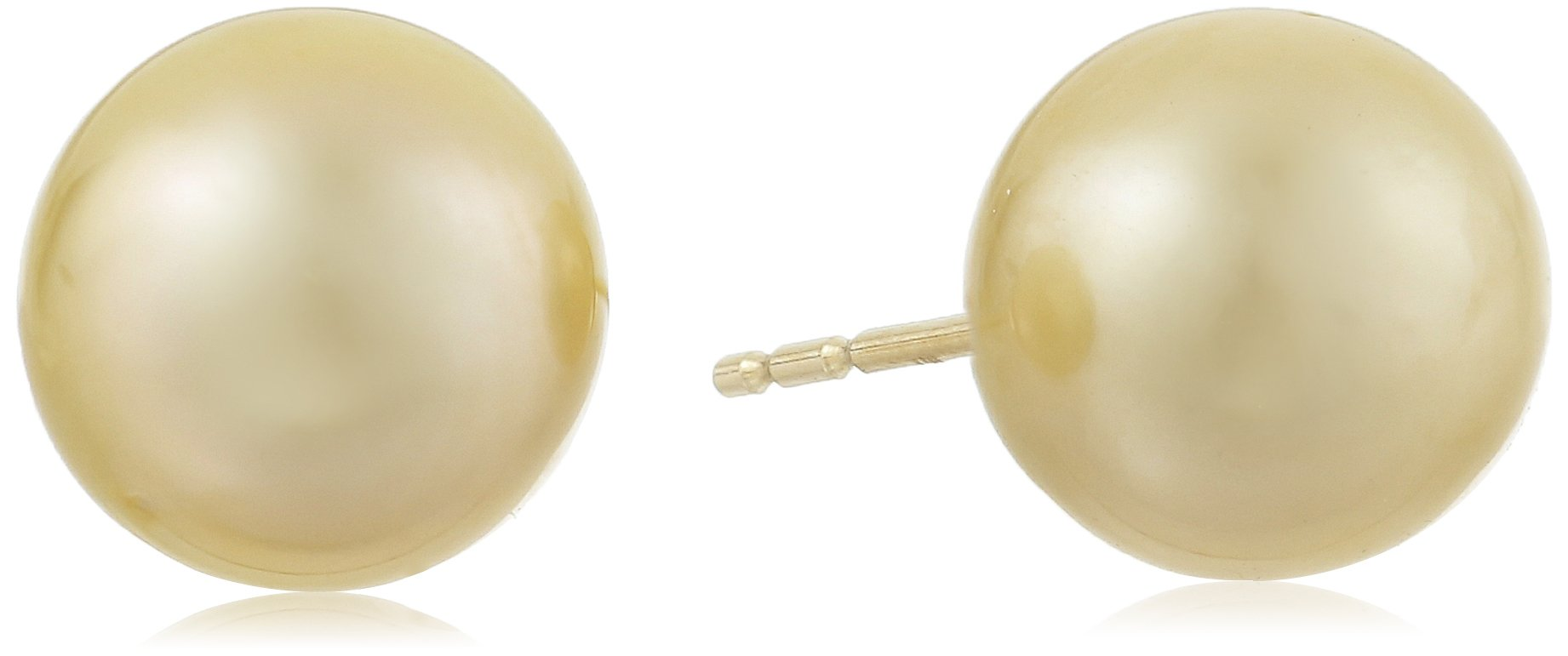 14k Yellow Gold AA Quality Golden South Sea Cultured Pearl 10x11mm Stud Earrings by Amazon Collection
