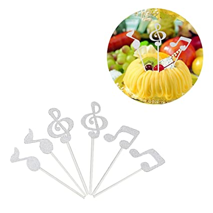 ROSENICE Music Cake Toppers 6pcs Music Symbols Notes Cupcake Toppers for  Birthday Party Decor(Silver)