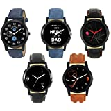 Krupa Enterprise Analogue Multicolour Dial Leather Strap Men's Watch (24678) -Combo of 5