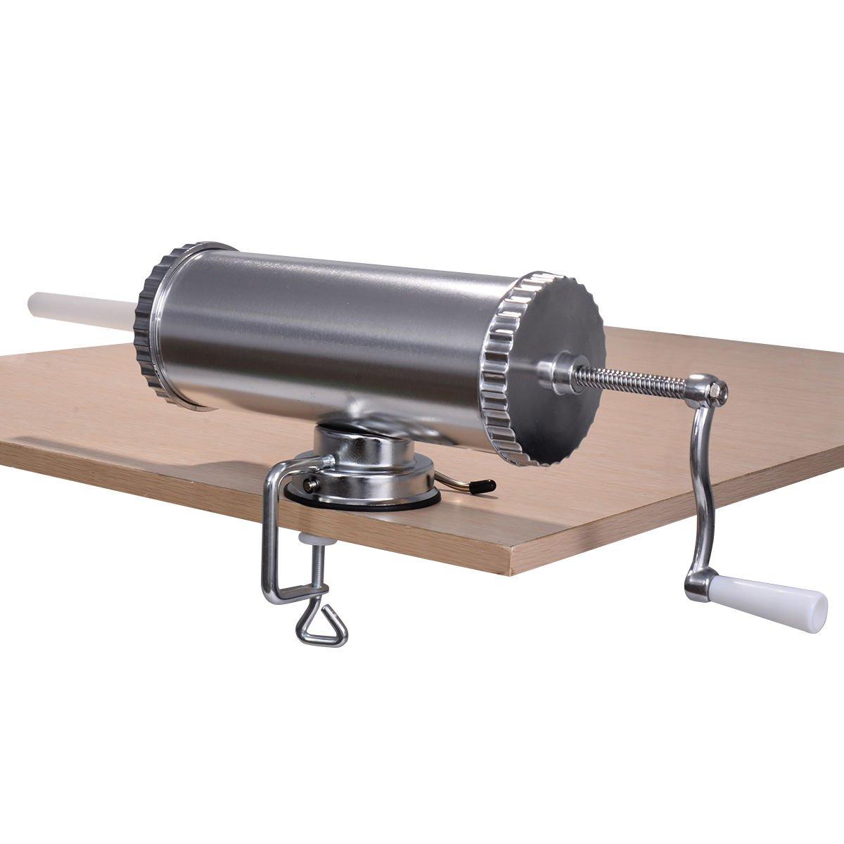 Goplus Stainless Steel Sausage Stuffer Maker Meat Filler Commercial (3L)