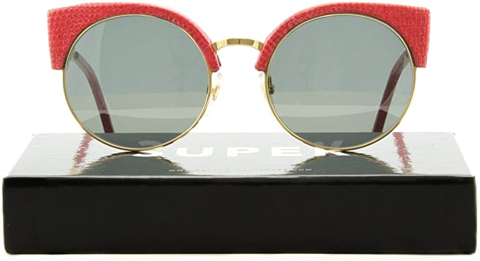 RETROSUPERFUTURE Super Ilaria Womens Sunglasses SU924 Red Lizard Genuine Leather