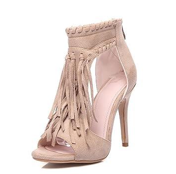 Damen Sandalen High Heel Slipper Open Top Reißverschluss Sommer Sexy Quaste Sandalen 8-12 Cm,Black(12Cm),41