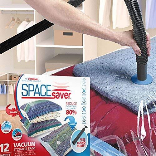 Spacesaver Premium Vacuum Storage Bags 3 x Small 3 x Medium 3 x Large 3 x Jumbo 80 More Storage Than