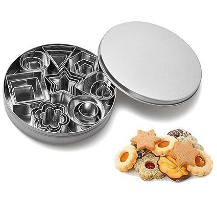 Mini cortador de galletas Set bsvlia 24 piezas cortadores de galletas de acero inoxidable moldeado decoración