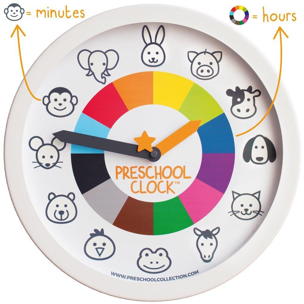 Preschool Collection Preschool Clock Time Teaching Silent Metal Frame Wall Clock 12'' for Kids
