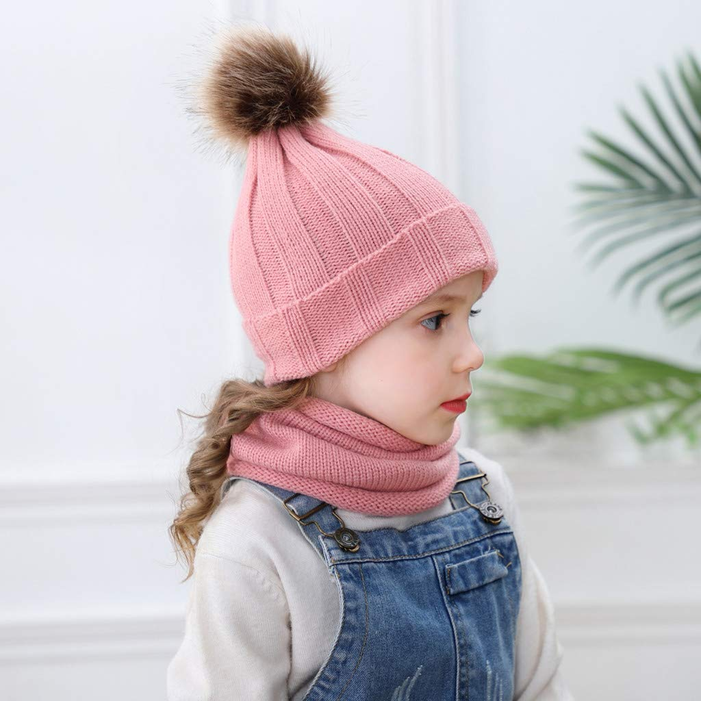 0-3age Boy Girl Neckerchief Hairball Cap Sets,BZLine Kids Warm Hat Cute Cap Child Knitted Scarf Hat Sets Pure Color Hat Casual Caps Fittings Bonnet