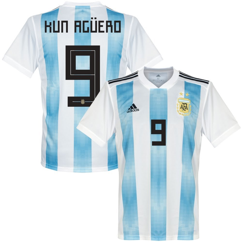 Argentinien Home Trikot 2018 2019 + Kun Agüero 9 - S