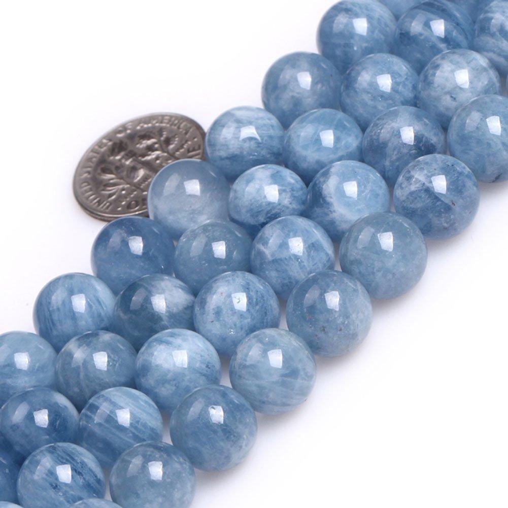 10mm AA GEMInside Aquamarine Quartz Gemstone Loose Beads Natural 8mm Round AA Grade bluee Crystal Energy Stone Power for Jewelry Making 15