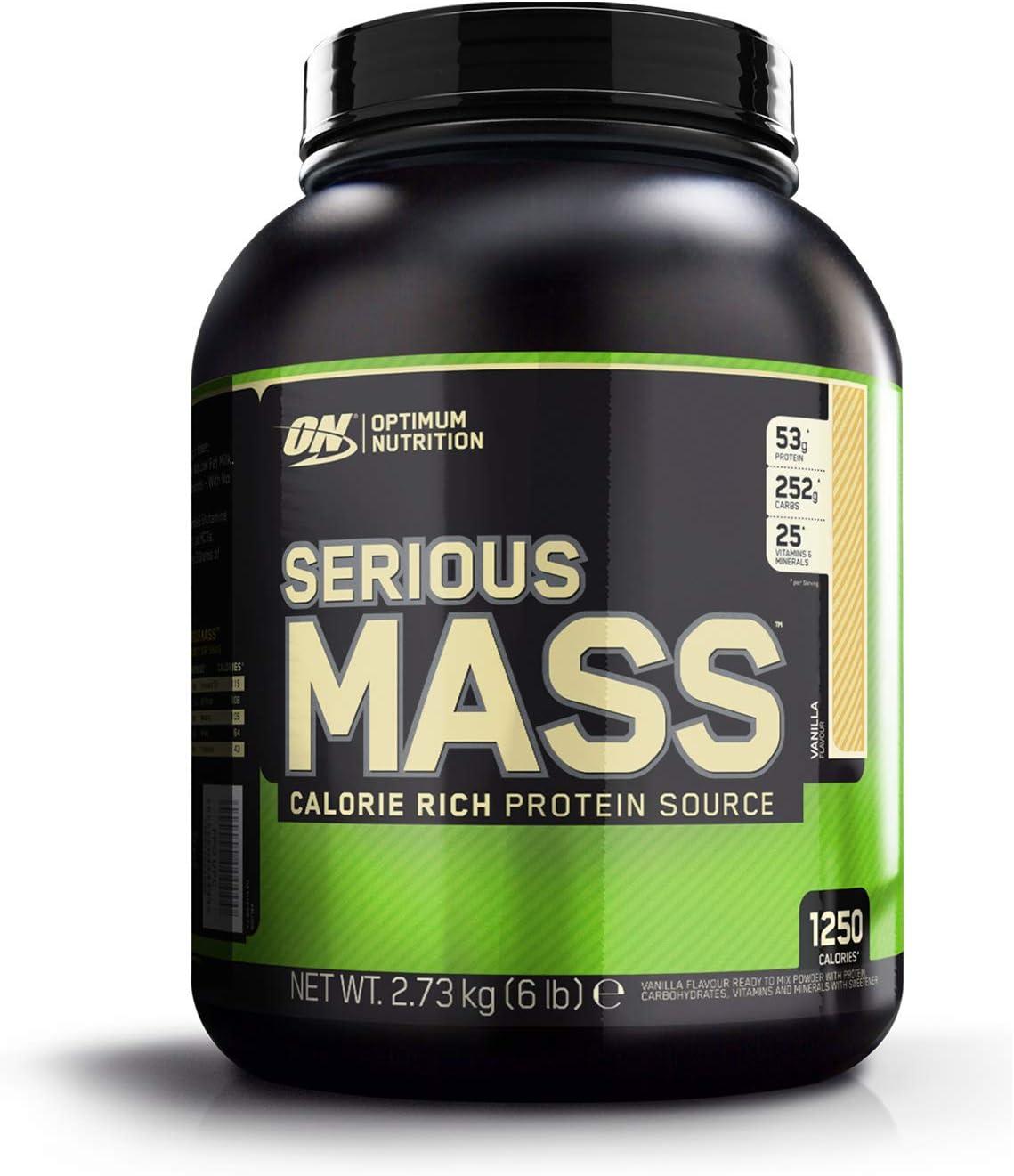 Optimum Nutrition ON Serious Mass proteina en polvo mass gainer alto en proteína, con vitaminas, creatina y glutamina, vainilla, 8 porciones, 2.73 kg
