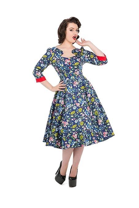 Hearts & Roses Oxford Ella Vintage Style Blue Floral Swing Dress