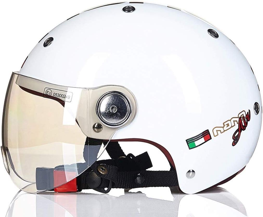 男性と女性のためのオートバイのヘルメット四季ハーフヘルメットカバーカーヘルメットラブリーライト (Color : 白い, Size : XL)