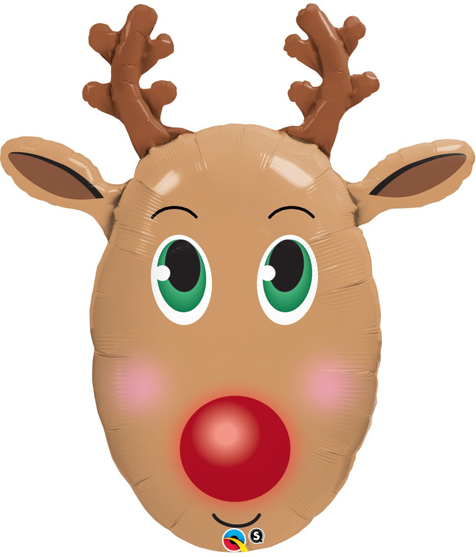 Uncategorized Raindeer Face amazon com rudolph the red nose reindeer face shaped 36 mylar balloon kitchen dining