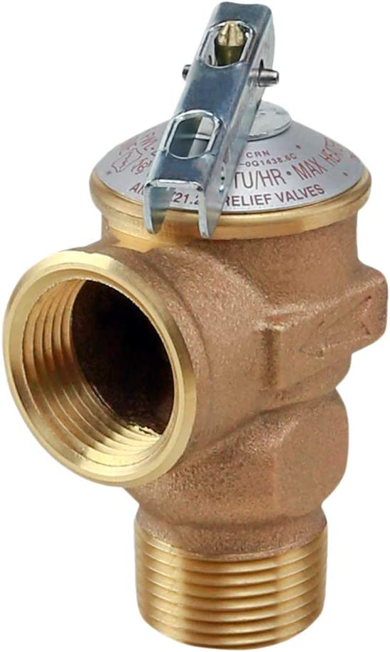 Midline Valve GUHW-QSW256 Pressure Relief Valve for Tankless Water Heater, Forged Brass, 3/4 in. FIP x MIP