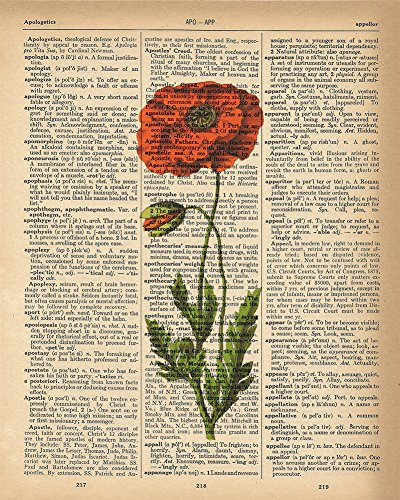 - Dictionary Print - Red Poppy Flower Upcycled Vintage Dictionary Page Poster - Size 8x10