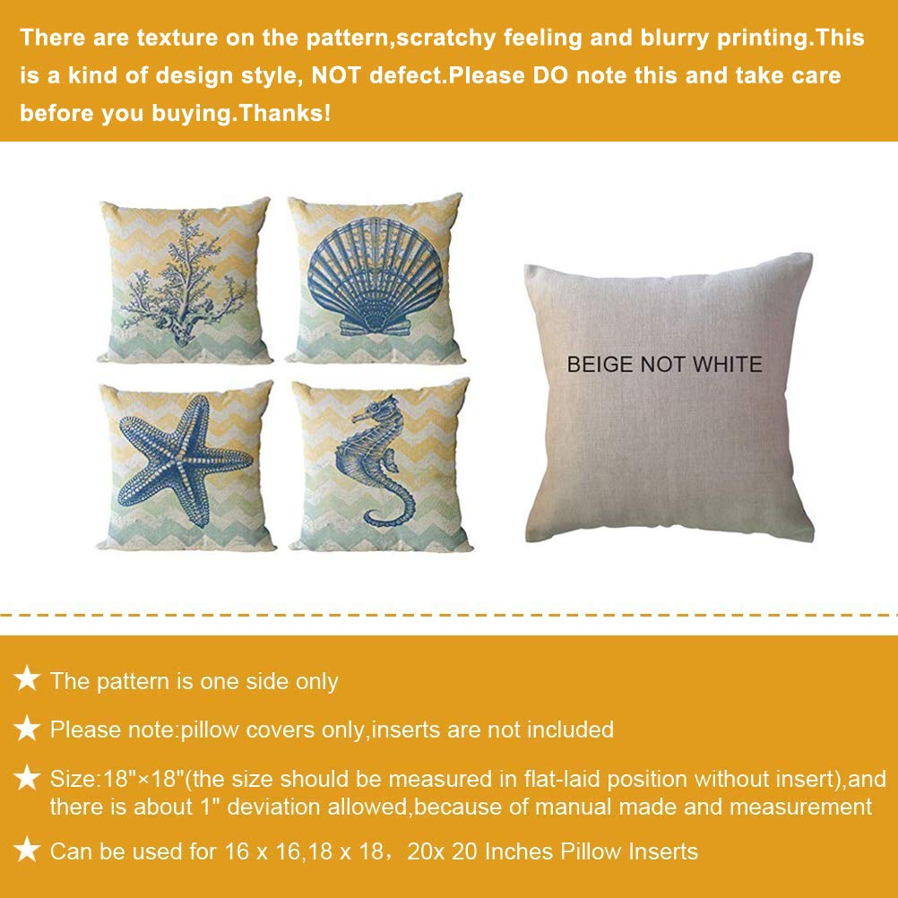 U-LOVE Beach Pillow Covers 4 Pack Cotton Linen Throw Pillowcases Sea Theme Cushion Cover 18 x 18 inch (Sea-3)