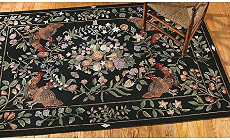 Amazon Com Black Rooster Rug 30 X 50 Area Rugs Kitchen Dining