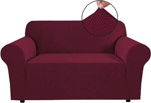 Image ofBellaHills Fundas de sofá elásticas Fundas de Asiento de Amor de 2 plazas para Sala de Estar Fundas de sofá Fundas con Fondo elástico, Tela Jacquard Gruesa Suave Lavable (2 plazas, Rojo Burdeos)