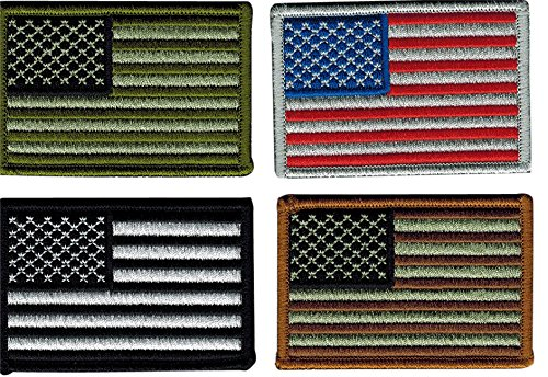 Bundle of 4 Tactical USA Flag Patches, Multi-Colored, by JAS Drapery Usa Four