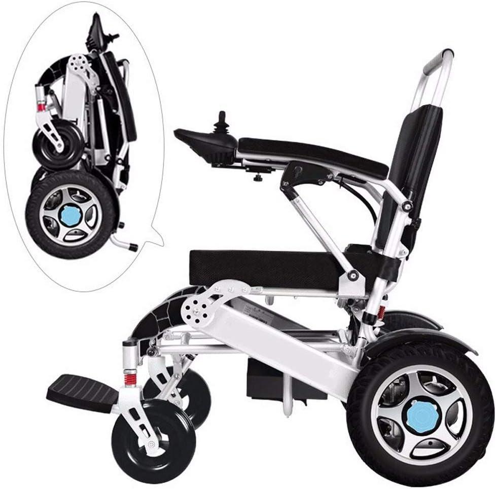 Silla de ruedas de ayuda de movilidad compacta plegable, Silla de ruedas eléctrica ligera y plegable, silla de ruedas motorizada, potente silla de ruedas de doble motor, con control remoto