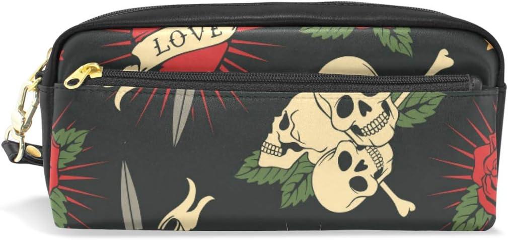 Bolso de lápiz Estuche de bolígrafo Bolsa Amor Corazón Cráneo Hueso Rosa Maquillaje Cosmético para niñas Niños Escuela de viaje: Amazon.es: Oficina y papelería