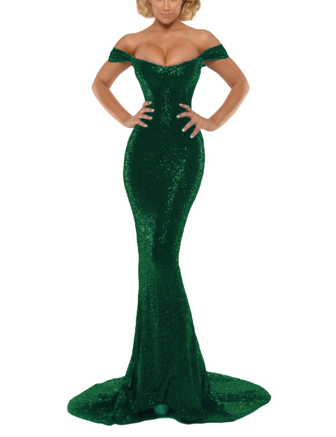 7400ab927ef MonaBridal Women's Sequin Off The Shoulder Mermaid Long Evening Prom ...