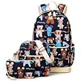 Girls School Backpack and Lunch Bag Set of 3 Cute Bookbag 14inch Laptop for Teens Lightweight Kemy's (Blue Dance Bear)