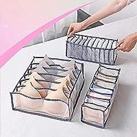 Underwear Organizer, 3 Set Foldable Closet Storage Boxes Drawer Organizer for Underware,Bra,Socks, Includes 6+7+11 Cell…