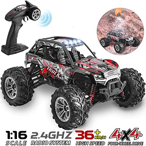 HisHerToy 4WD RC Trucks for Adults IPX4 Waterproof RC Cars High Speed Remote Control Cars 4x4 for Boys Girls 1:16 / 36km/h Off Road RC Vehicles for Kids Monster Truck Buggy Rock Crawler with Headligh (Trucks Crawler Rc)