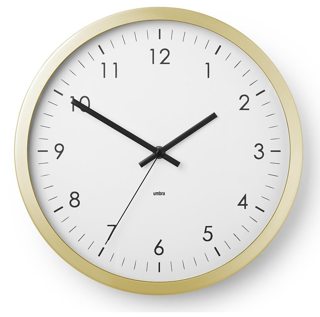Umbra Wall Clock - 12'' Round Metal Frame - Battery Operated - Decorative Wall Clock for Kitchen, Nursery, Office, School, Hospital - With Silent Second-Hand