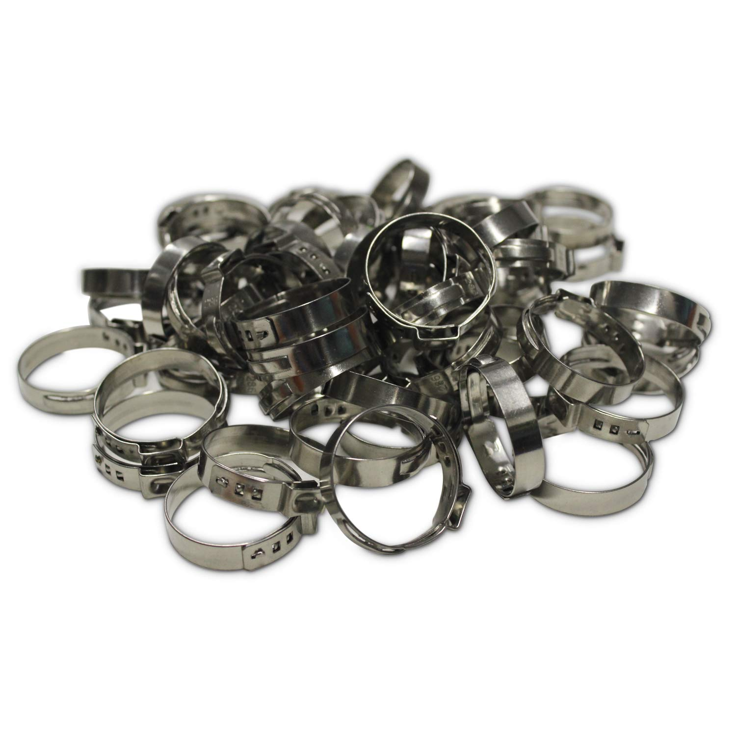 6-7mm WYKA 50 Pack 304 Stainless Steel Single Ear Hose Clamp,Crimp Pinch Fitting,Fuel Line Hose Clips Water Pipe Air Tube Silicone Vacuum Hose Clamp Fastener 1//4-9//32