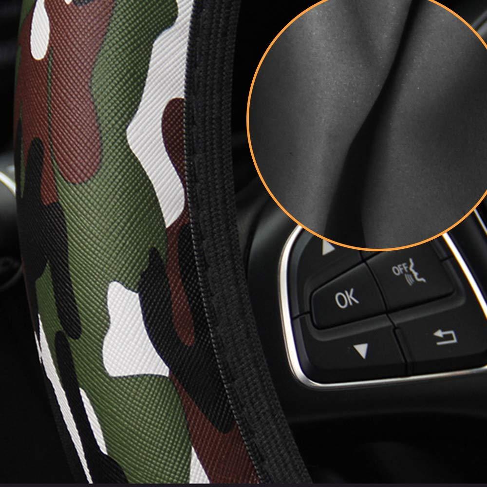 Gr/ün Fit f/ür die meisten Autos Leopard PU Auto Lenkradbezug Camouflage Auto Lenkradbezug Mikrofaser Leder