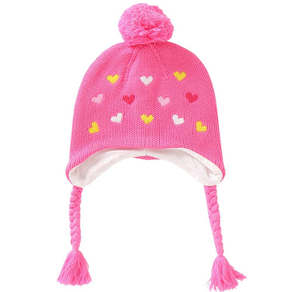 E.mirreh Baby Toddler Children Knitted Beanie Warm Earflap Hat Girl Pink Heart