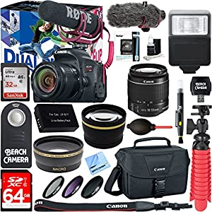 Canon EOS Rebel T7i Digital SLR Camera Video Creator Kit + 18-55mm Zoom Lens Accessory Bundle