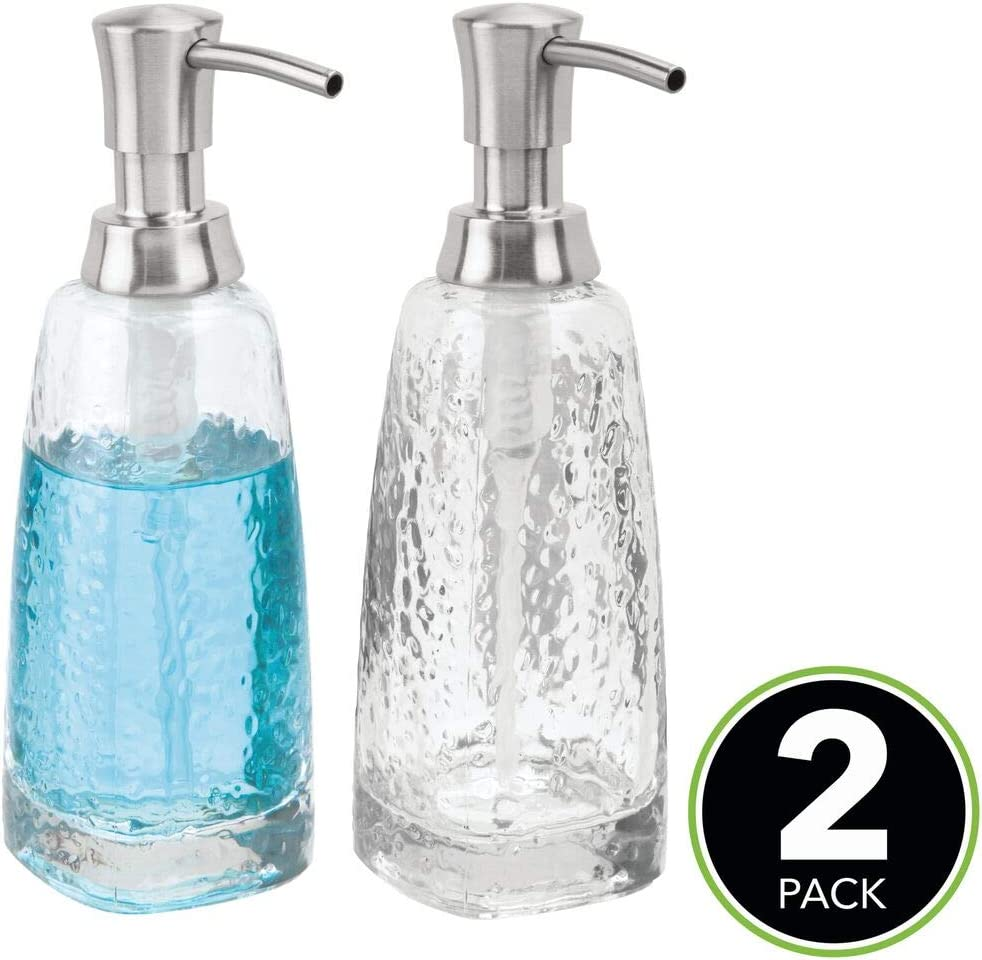 large discount cheap exclusive deals mDesign Modern Glass Refillable Liquid Soap Dispenser Pump Bottle for  Bathroom Vanity Countertop, Kitchen Sink - Holds Hand Soap, Dish Soap, Hand  ...