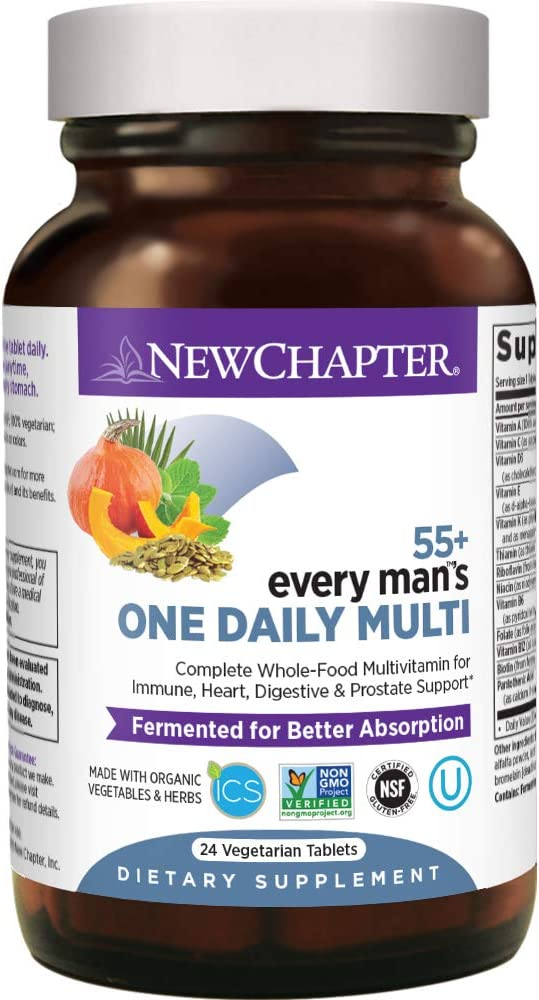 New Chapter Multivitamin for Men 50 Plus - Every Man's One Daily 55+ with Fermented Probiotics + Whole Foods + Astaxanthin + Organic Non-GMO Ingredients -24ct
