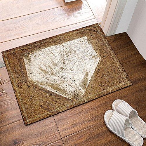 NYMB Sports Decor Home Plate Baseball Bath Rugs, Non-Slip Floor Entryways Outdoor Indoor Front Door Mat,16X24 Inches Bath Mat