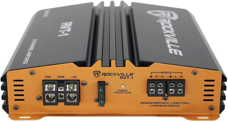 Rockville RVT-1 1000w Peak//250w CEA RMS 2 Channel Car Amplifier Stereo Amp